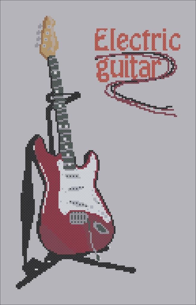 Схемы для вышивки крестом гитары