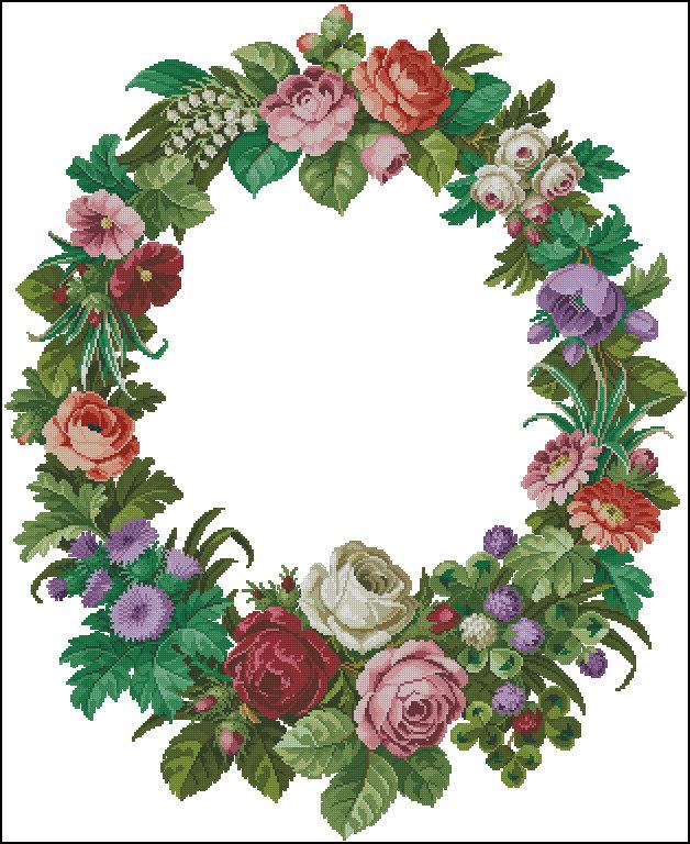 Вышивка крестом схемы венков из цветов