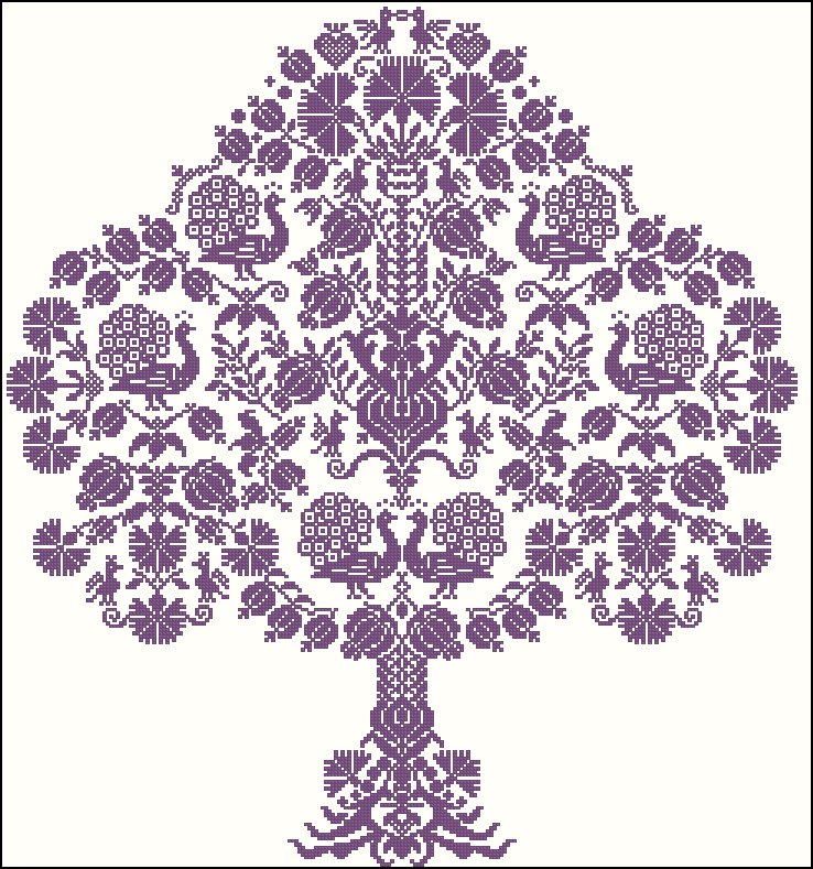 Монохромные схемы вышивки деревьев