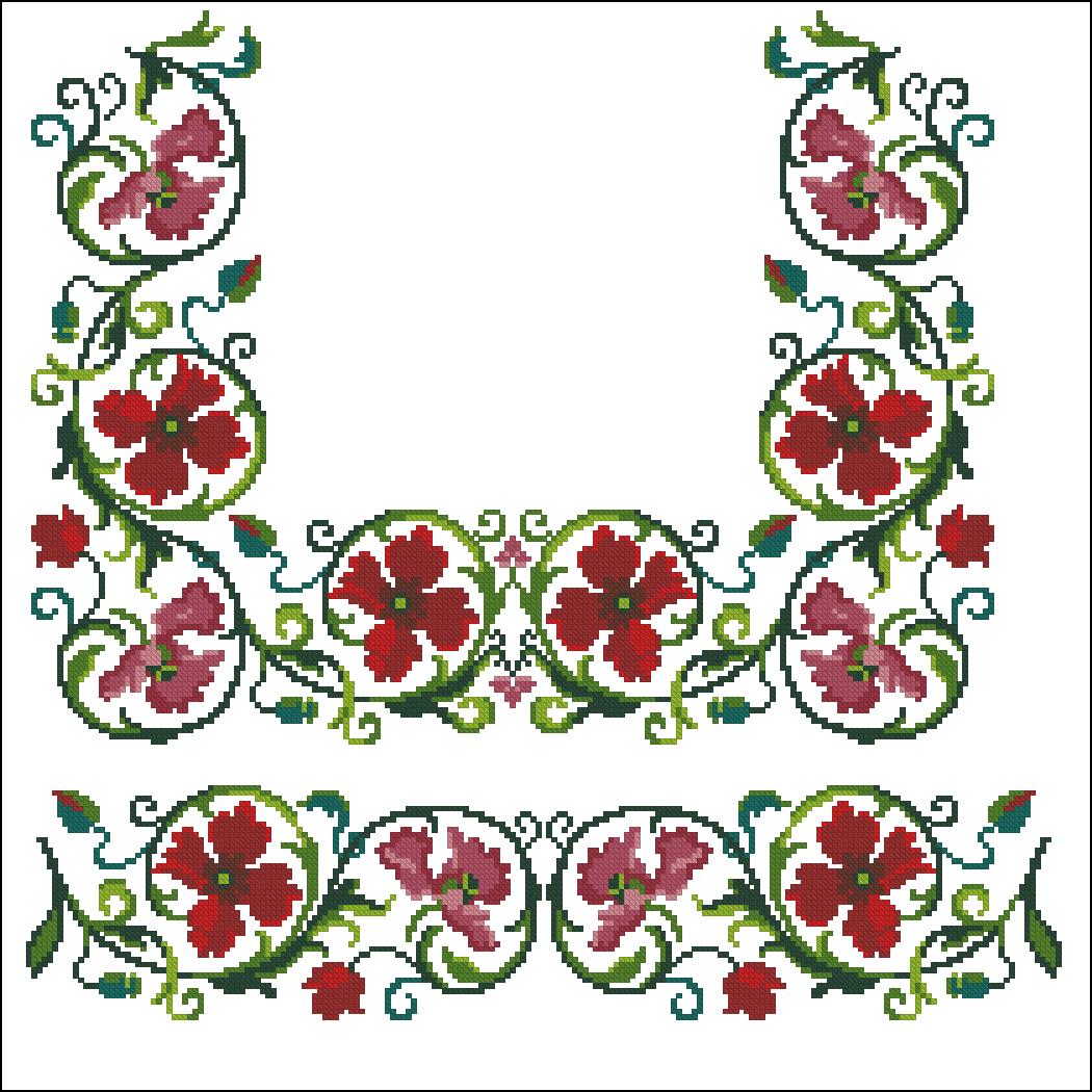 Схемы для вышивки крестом на вышиванку бесплатно