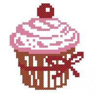 Розовый кексик с вишенкой