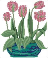A bowl of frilly tulips