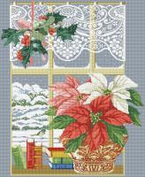 Пуансеттия у окна