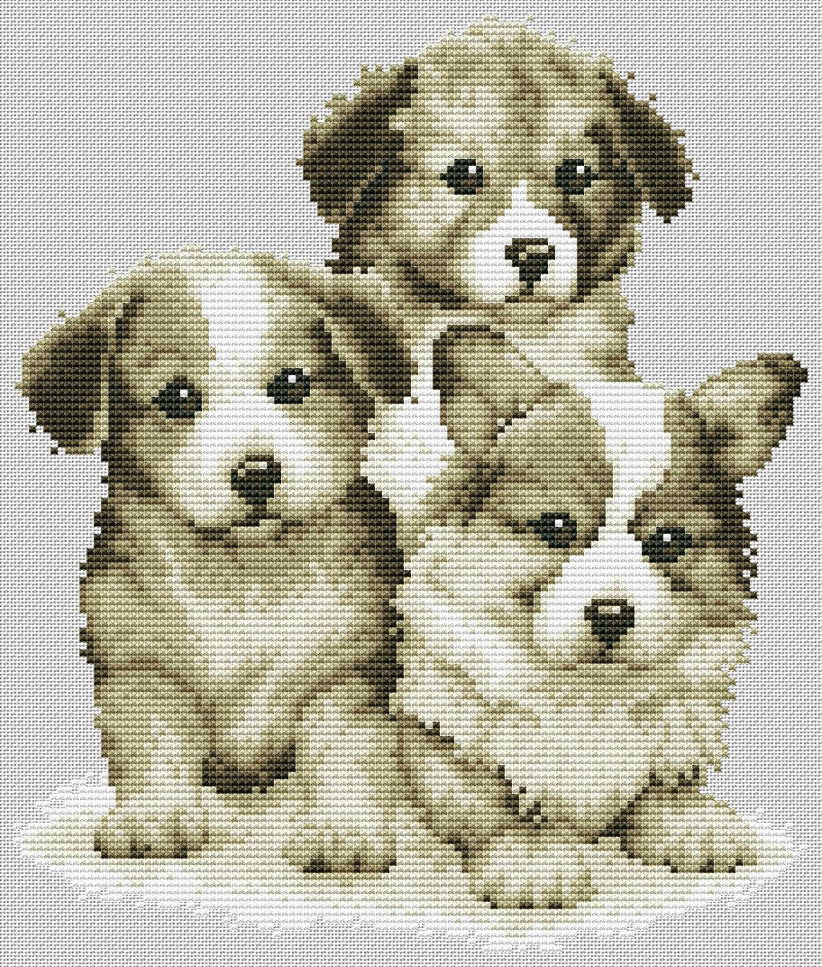 Вышивка с щенками скачать