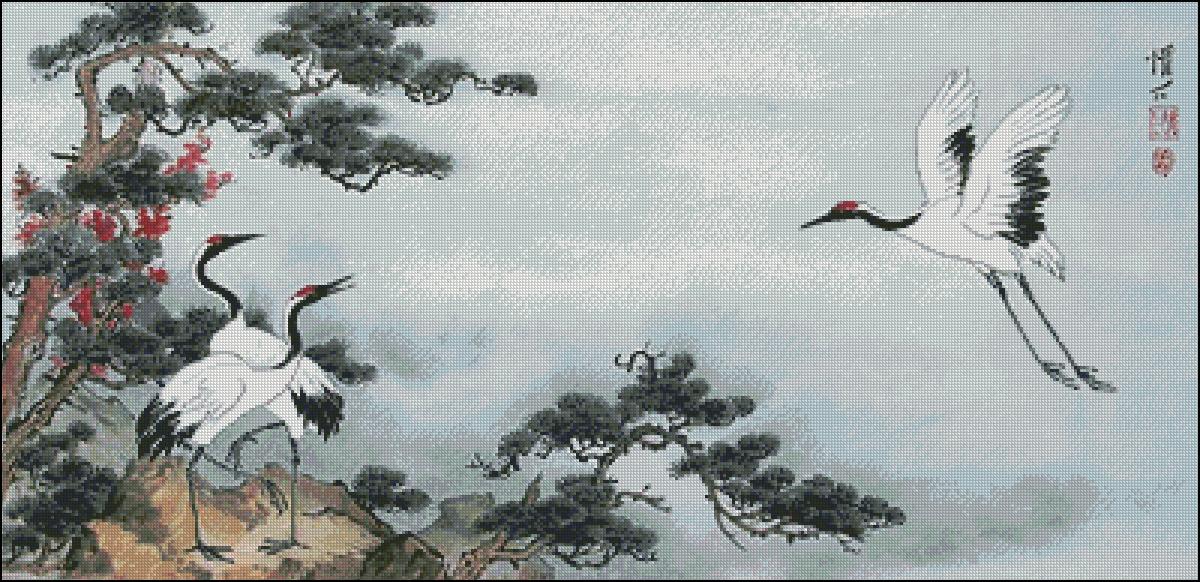 Скачать схему для вышивки крестом журавли