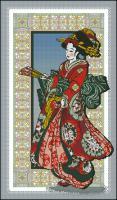 Девушка в красном кимоно
