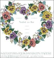 Pansy Heart Wedding Sampler