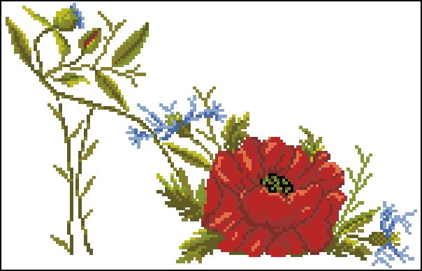 Вышивка туфелька с цветами