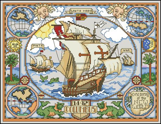 Скачать схему вышивки карты мира