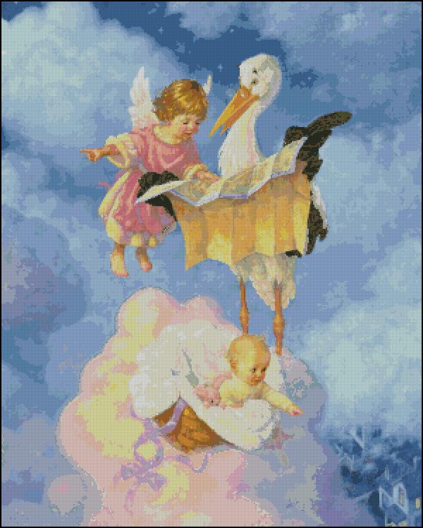 Ангелочек с аистом схема вышивки 34