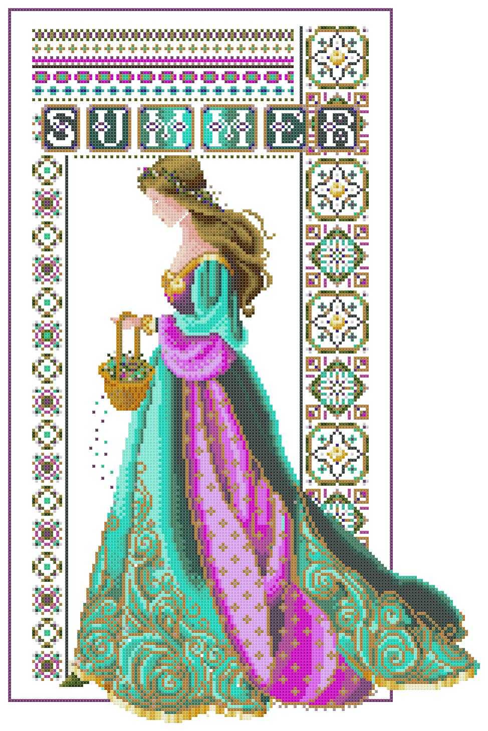 Вышивка крестом кельтские девушки