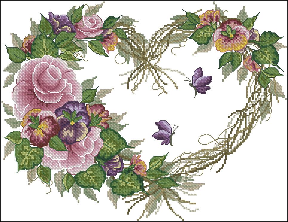 Вышивка венков из цветов 363