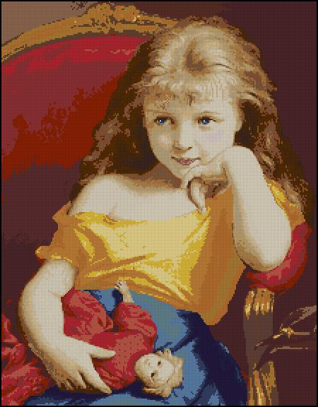 Вышивка девочки с куклами
