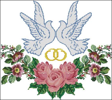 Схема вышивки голуби розы