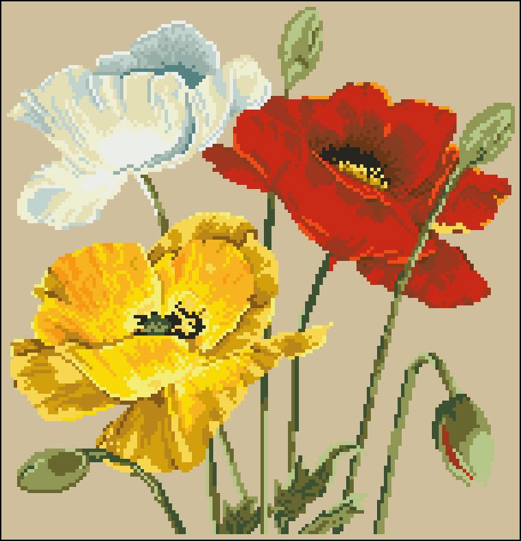 Фото вышивки крестиком цветы