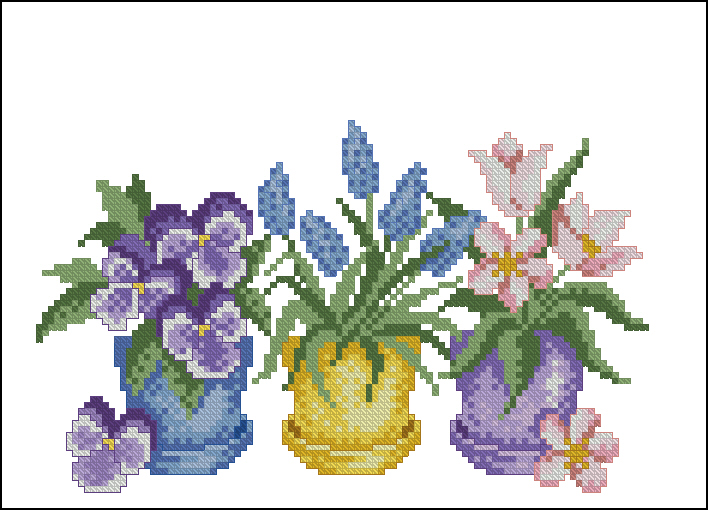 Схемы для вышивки цветы в горшках 24