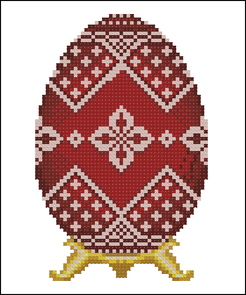 Red Faberge Egg with Silver