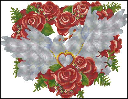 Схема вышивка голуби розы