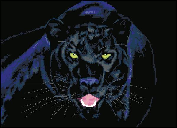 Вышивка крестом пантера на черном