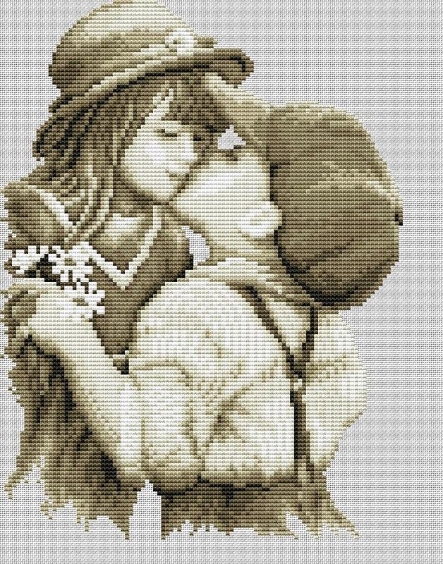 Вышивка мальчик с девочкой в цветах