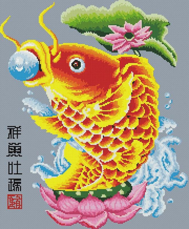 Скачать схему вышивки крестом золотые рыбки