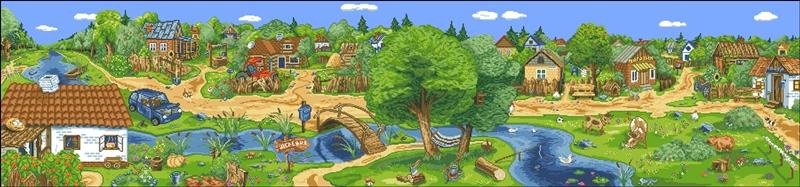 Схема вышивки деревеньки скачать