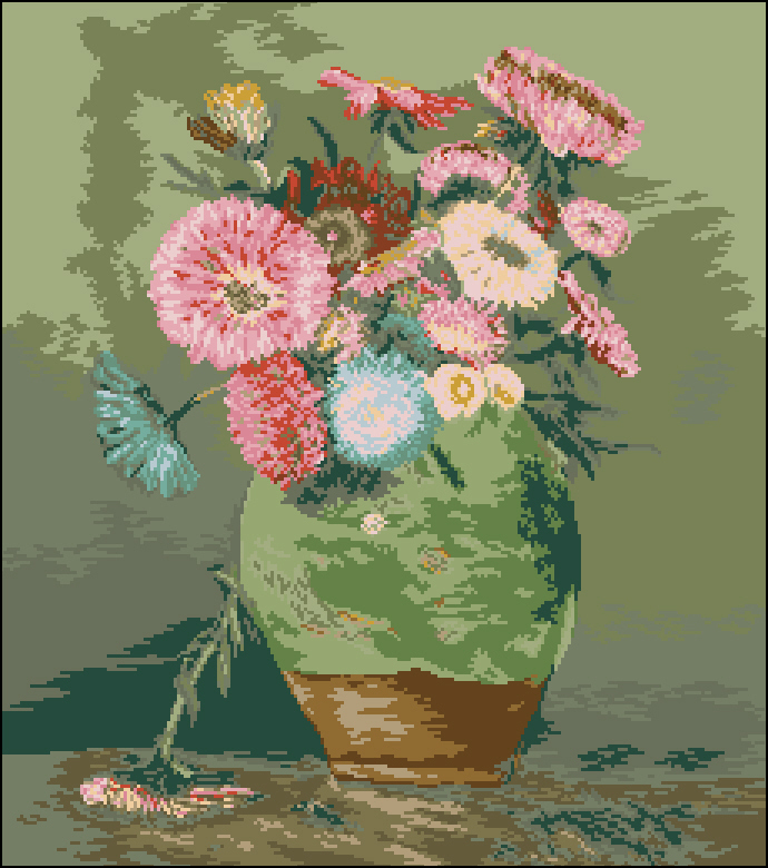Вышивка кувшин с цветами