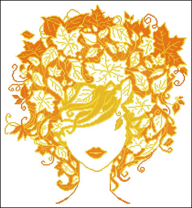 Схема вышивки девушка-осень