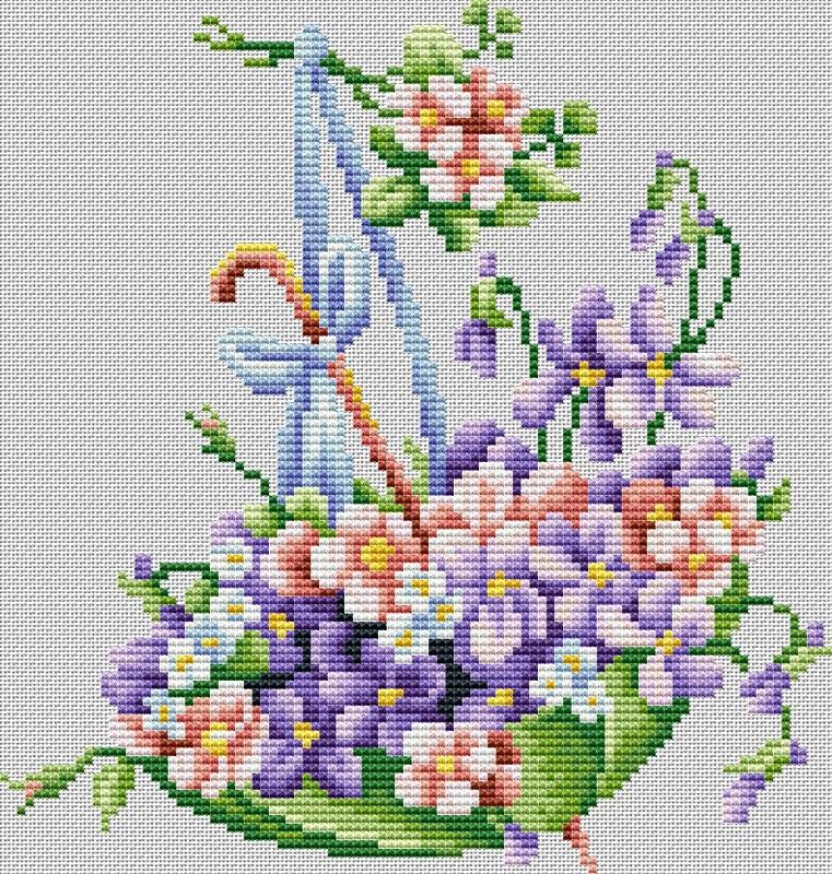 Вышивка крестом зонтик с цветами схемы