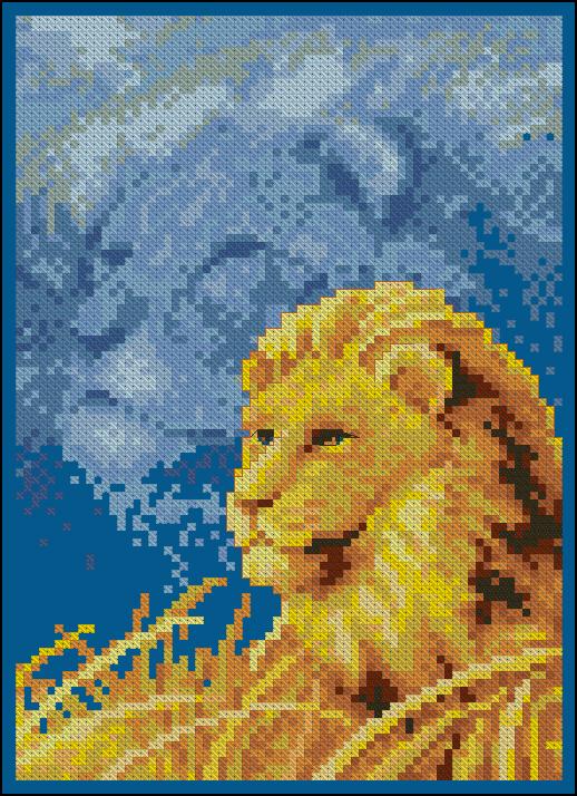Вышивка крестом лев в профиль