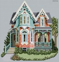Схемы вышивка крестом современные дома 82