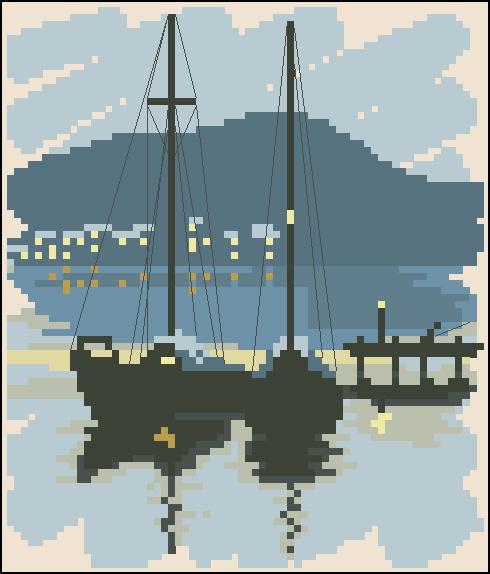 Лодка бесплатная схема для вышивки