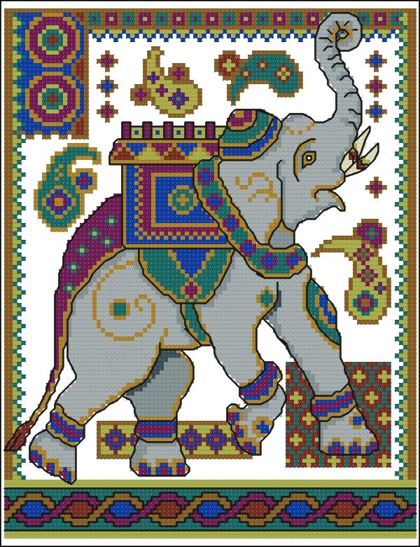 Схема вышивки индийского слона