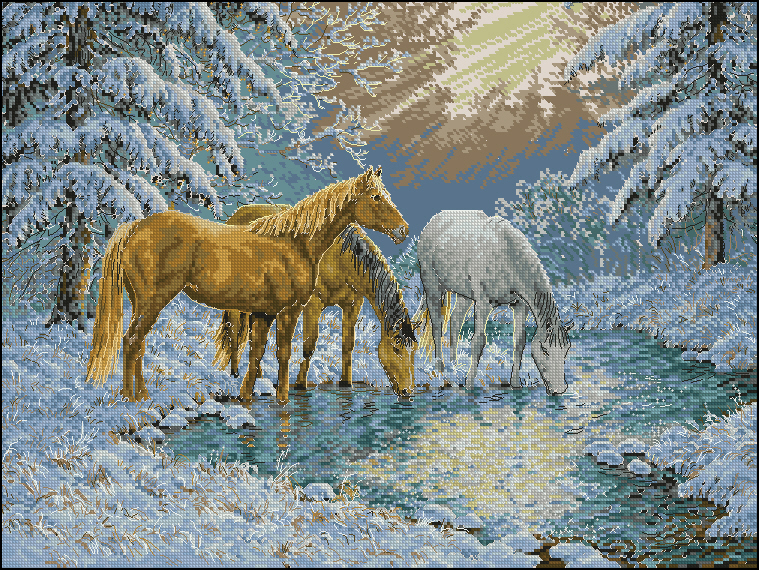 Вышивка крестом лошади в лесу 52