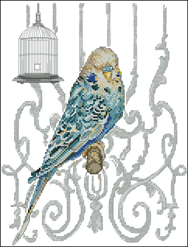 Вышивка крестом волнистые попугайчики 62