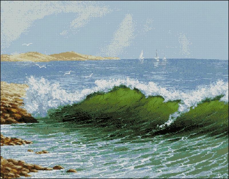 Вышивка пейзаж морской 55