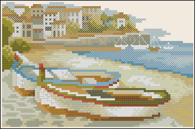 Вышивка крестиком с лодками 59