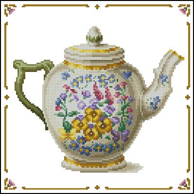 Скачать схему вышивки чайник