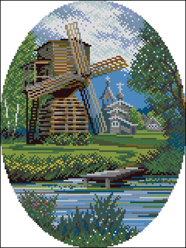 Мельница ветряная вышивка 36