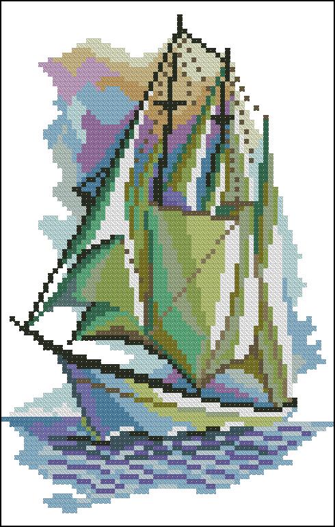 вышивка крестом подводная лодка схемы