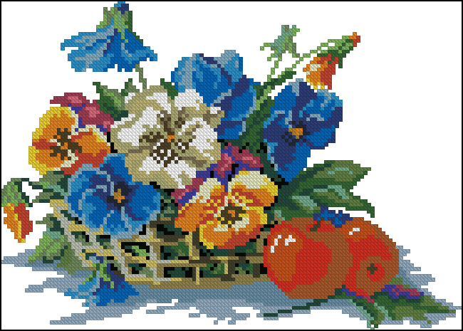 Схема вышивки цветы с яблоками