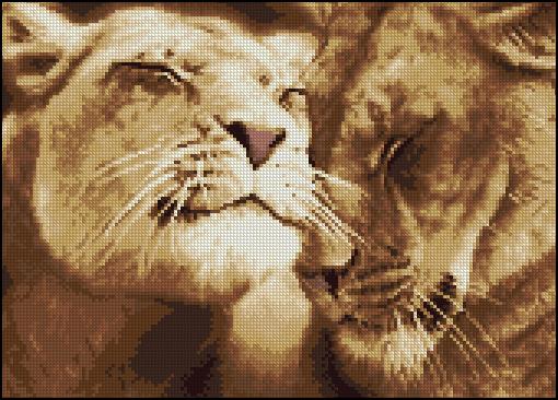 Схемы вышивки крестиком льва