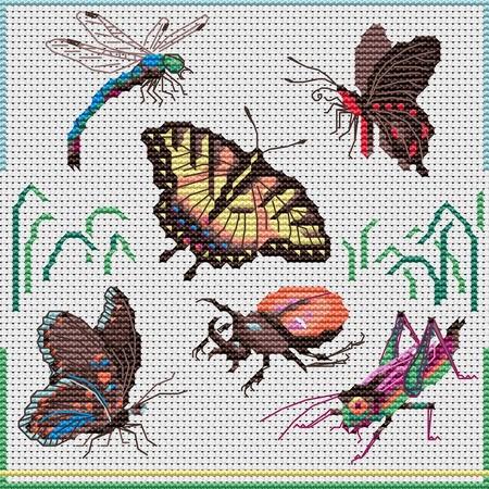Схема вышивки стрекоза и муравей