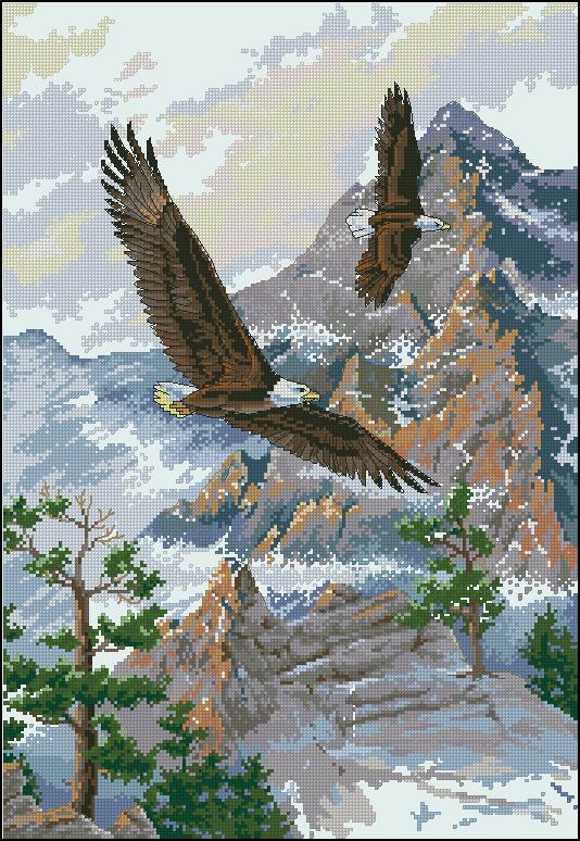 Вышивка крестом два орла 63