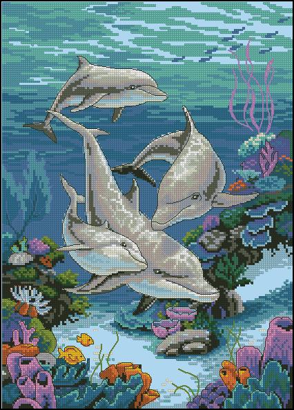Вышивка крестиком дельфина схема