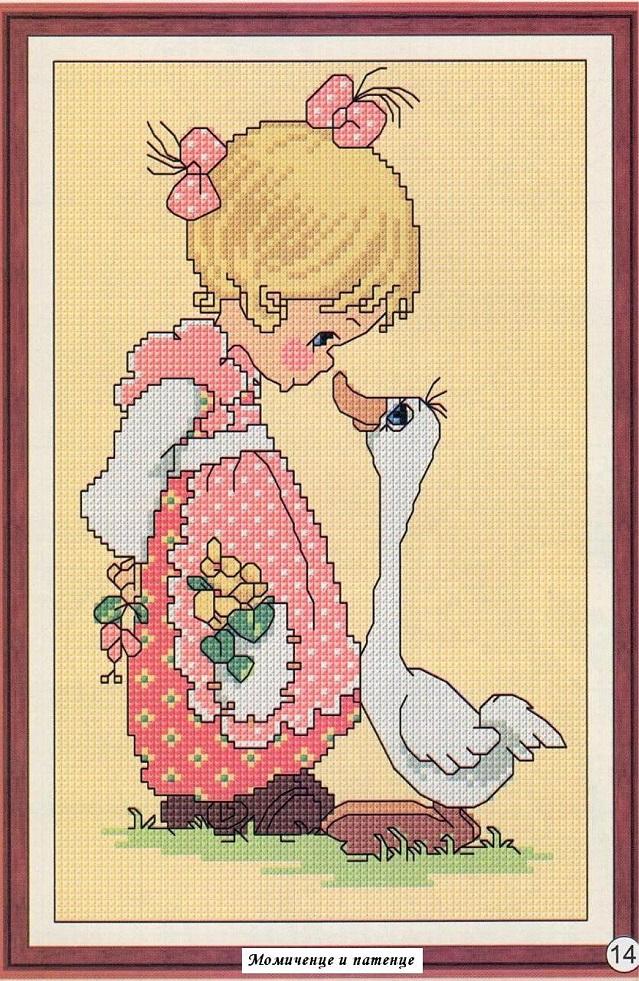 Вышивка вышивающая девочка