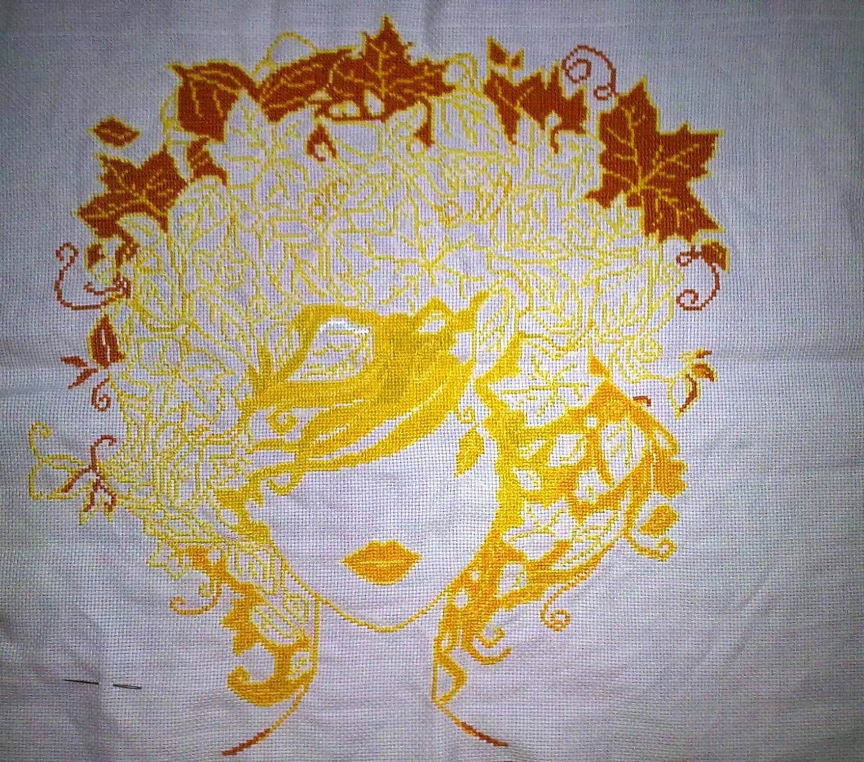 девушка осень схема вышивки