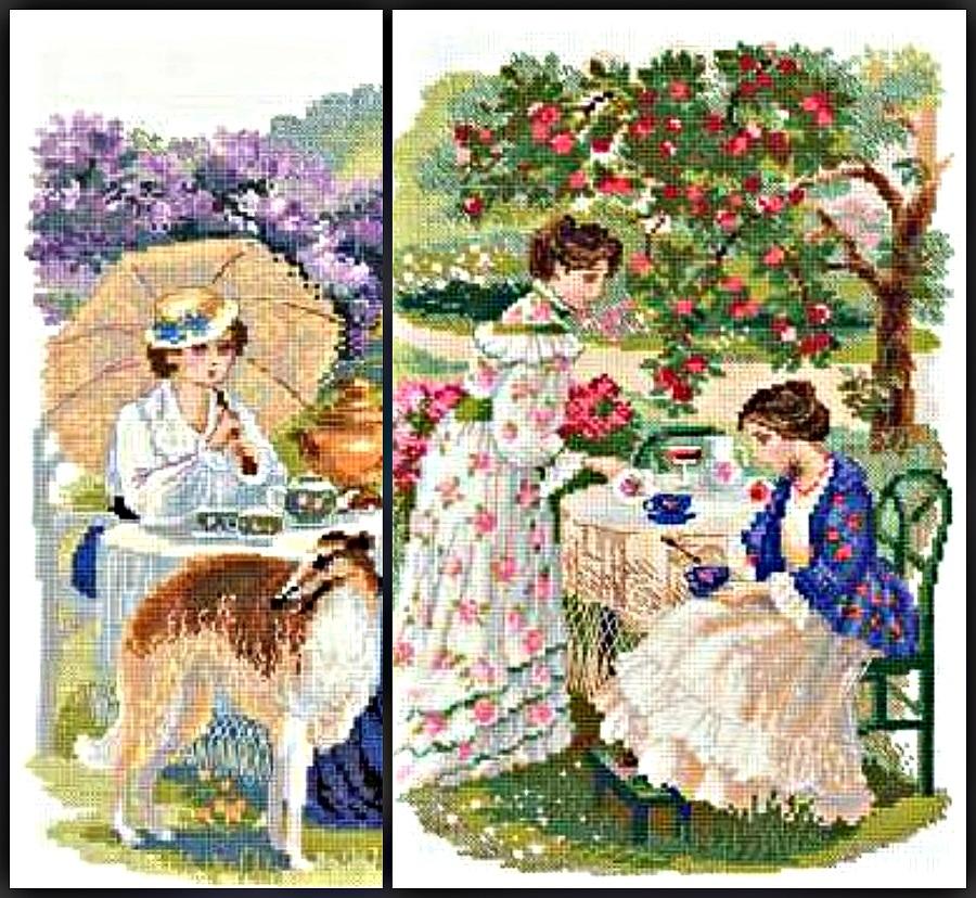 В летнем саду вышивка