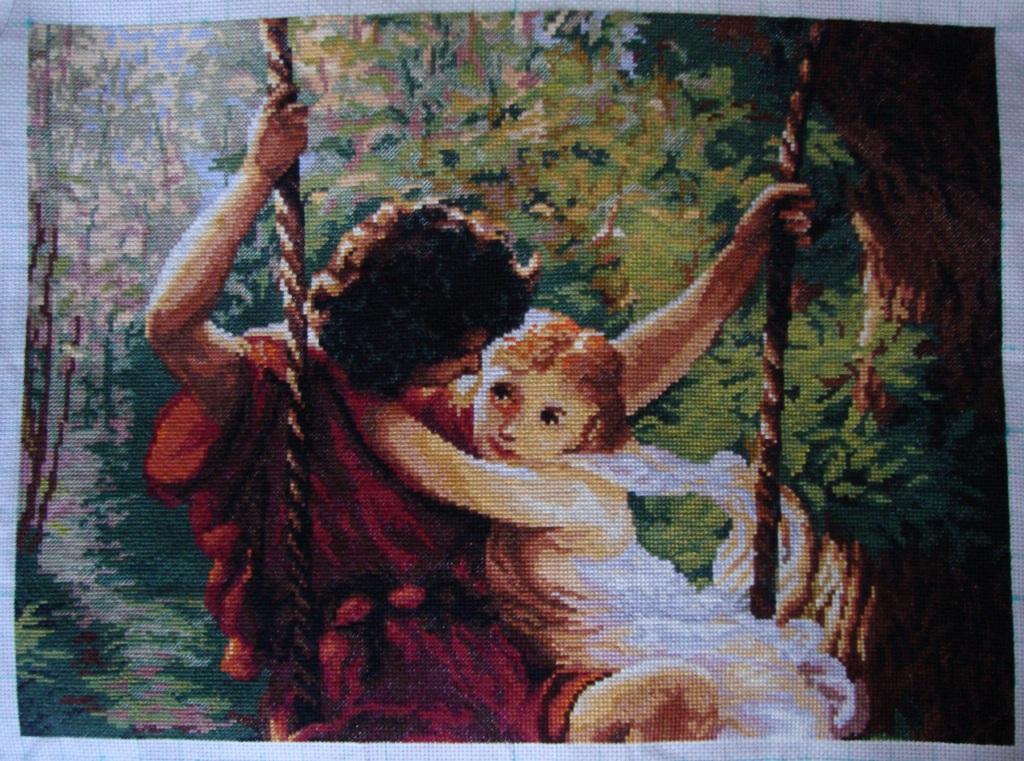 Влюбленные на качелях схема вышивки крестом