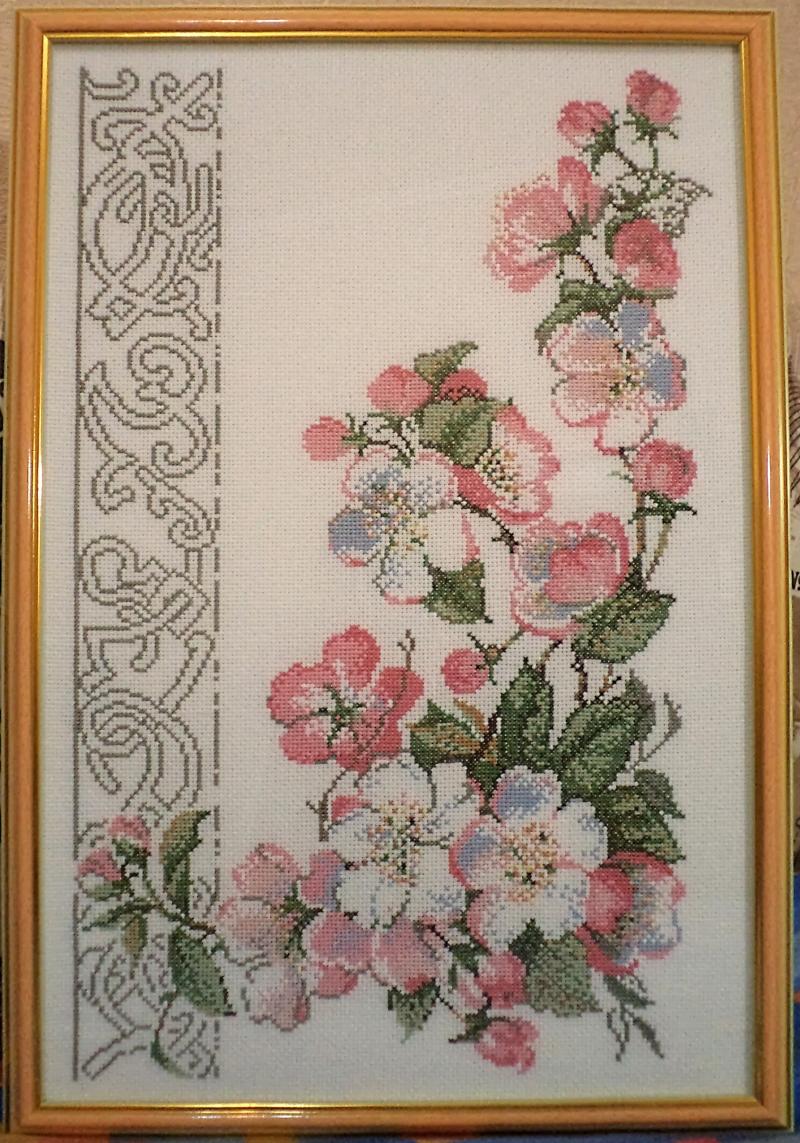 Яблоневый цвет схема вышивки крестом